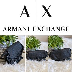 NWOT Armani Exchange black soft leather pouch